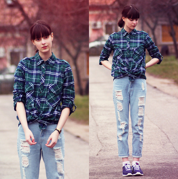 jeans fashion blue cut-out denim pants clothes shirt blouse checked shirt green