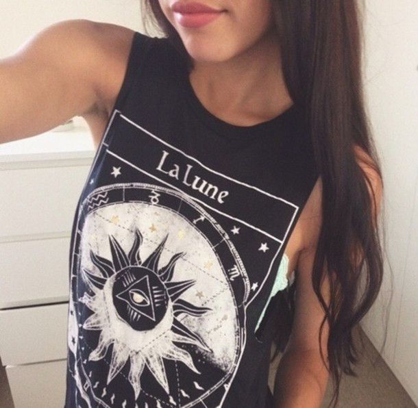 lalune sun tank top top moon stars eye hipster tank top la lune la lune shirt the moon rock punk la lune tee