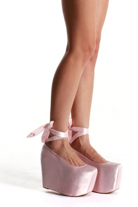 x jeffrey campbell - ballet platform shoes (satin pink) - wildfox ...