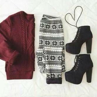 leggings burgundy black leggings white leggings sweater boots black white red burgundy sweater black boots platform lace up boots