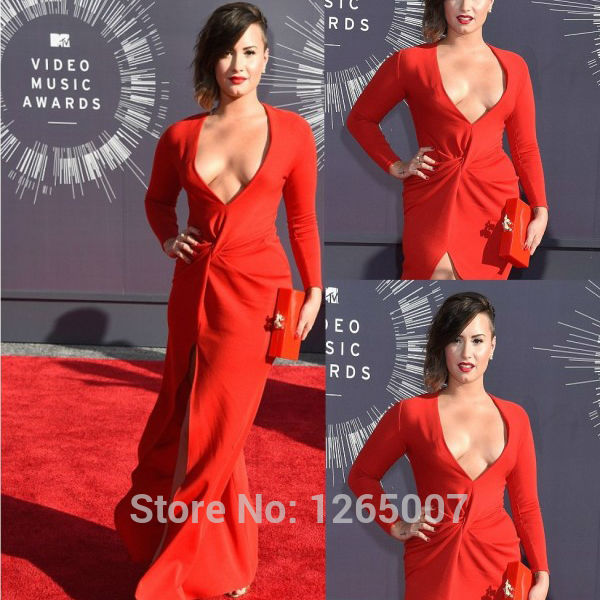 Aliexpress.com : Buy Demi Lovato Deep V Neck Long Sleeves Ruffles Red High Slit Sexy A Line Red Carpet Celebrity Dress New Fashion For Party from Reliable fashion attire suppliers on SFBridal