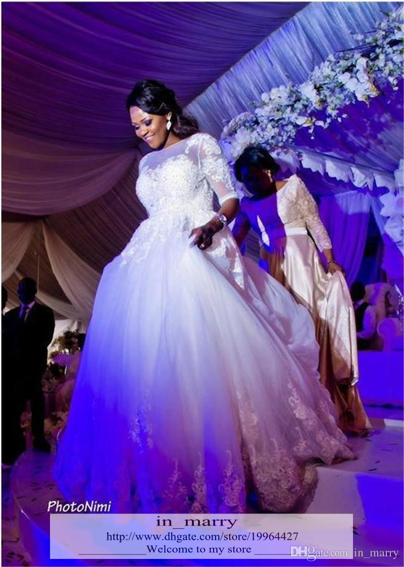 Charming african plus size a line wedding dresses 2015 1 2 for Plus size african wedding dresses
