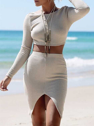 dress grey trendy fashion style tan summer two piece dress set long sleeves mns girly girl girly wishlist two-piece skirt knitted dress white dress