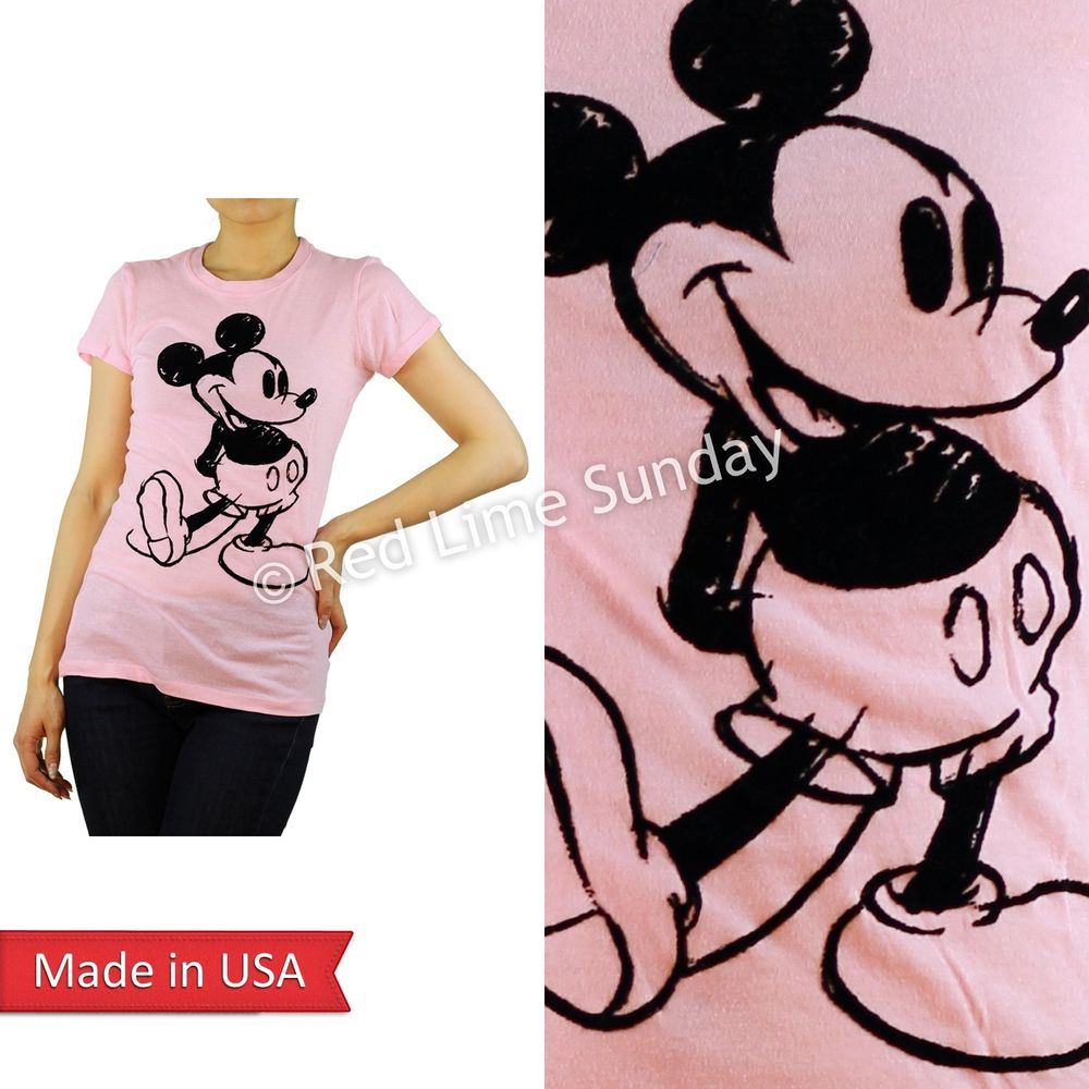 Disney Flock Print Cute Classic Mickey Mouse Face Pink T Shirt Top Junior USA