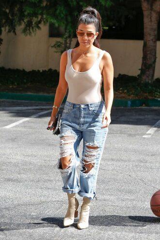 top bodysuit pumps jeans ripped jeans sunglasses purse kourtney kardashian kardashians baggy pants