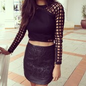shirt,cut-out,blouse,sweater,tank top,top,black,holes,net,mesh,crop tops,skirt,black leather skirt