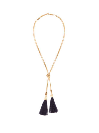 tassel necklace navy jewels