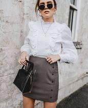 top,blouse,white blouse,high neck,long sleeves,mini skirt,ruffle shirt,handbag,earrings,sunglasses
