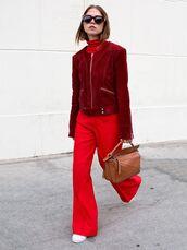 jacket,tumblr,red jacket,suede,suede jacket,bag,brown bag,loewe bag,brown leather bag,leather bag,turtleneck,sunglasses,pants,red pants,wide-leg pants,work outfits