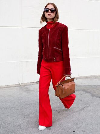 jacket tumblr red jacket suede suede jacket bag brown bag loewe bag brown leather bag leather bag turtleneck sunglasses pants red pants wide-leg pants work outfits