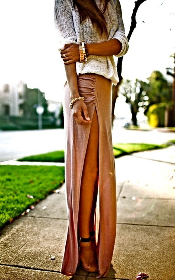 skirt maxi skirt clothes fashion shoes sandals high heels knitwear knitted top spring summer outfit cute blouse