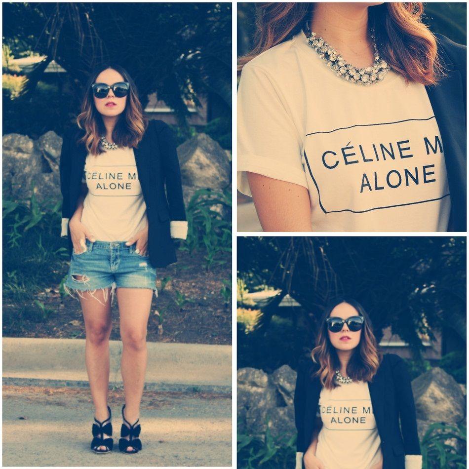 Celine Me Alone T Shirt Rihanna Feline Homies Fashionist Top | eBay