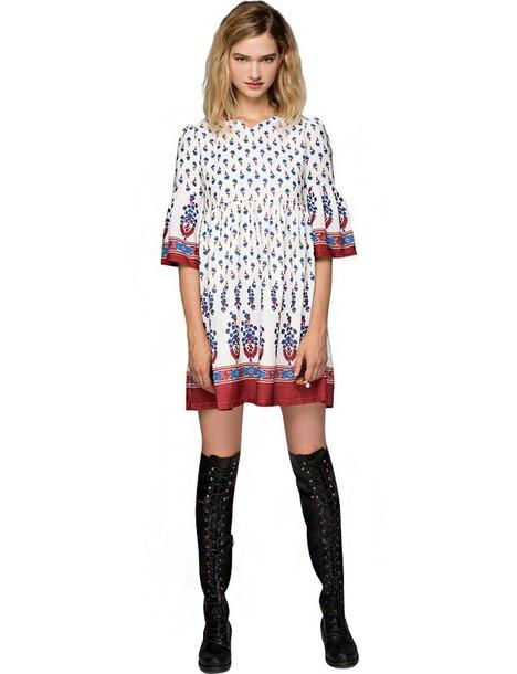 Dress boho fall outfits fall trends babydoll dress boho dress back to school pre fall ...