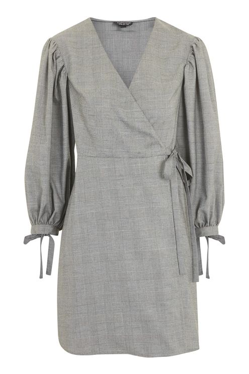 Checked Ovoid Sleeve Wrap Dress - New In Fashion - New In