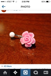 jewels,belly piercing,belly button ring,belly ring,pink roses,light pink,rose