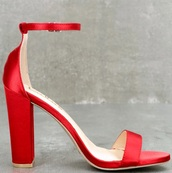 shoes,red,heels,blockheels,satin,block heels