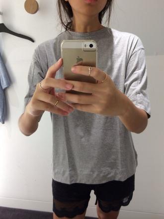 top grey top grey tsgirt t-shirt sleeves casual top grey tshirt grey t-shirt