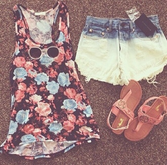 shirt high waisted shorts shorts t-shirt summer outfits spring dyed shorts floral shirt sandals
