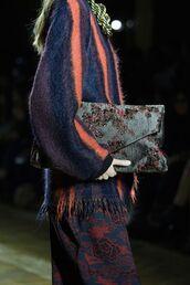 bag,dries van noten bag,blue bag,embroidered bag,embroidered,sweater,striped sweater,pants,printed pants
