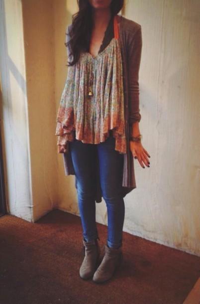 jeans cardigan blouse