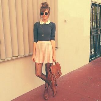 blouse light pink skirt grey sweater vintage underwear shoes bag pants shirt tights polka dots brown oxfords pleated mini skirt grey top satchel bag peter pan collar