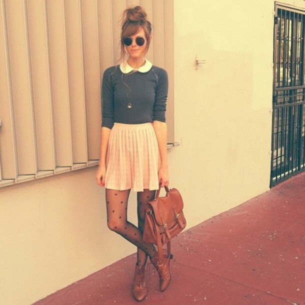 Blouse: light pink, skirt, grey, sweater, vintage, underwear ...