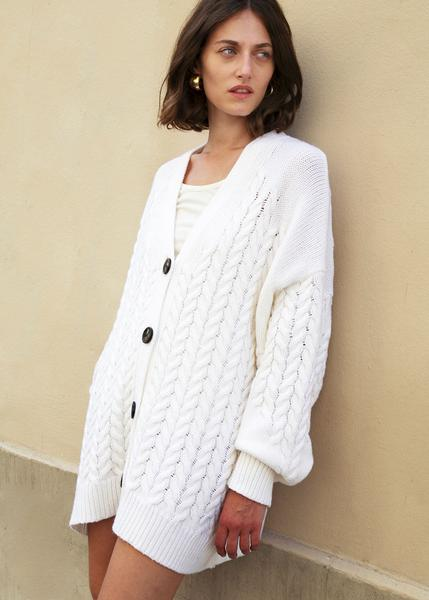 Zannone Ivory Cable Knit Cashmere Blend Cardigan by Loulou Studio