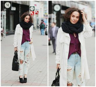 greenteanosugar coat bag jeans shirt jewels belt