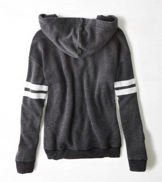 Sweater grey hoodie true black black full zip zip black hoodie hipster casual winter ...