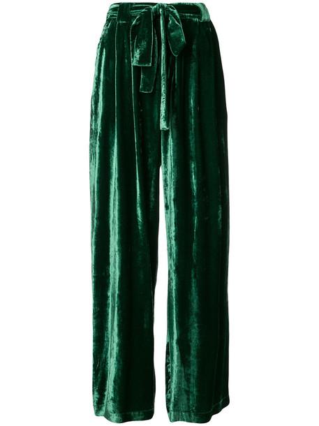 Roberto Collina high women silk velvet green pants
