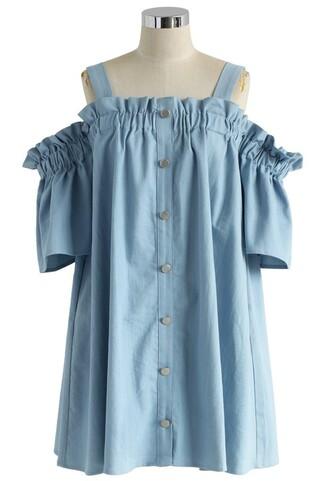 dress chambray dress ruffle blue