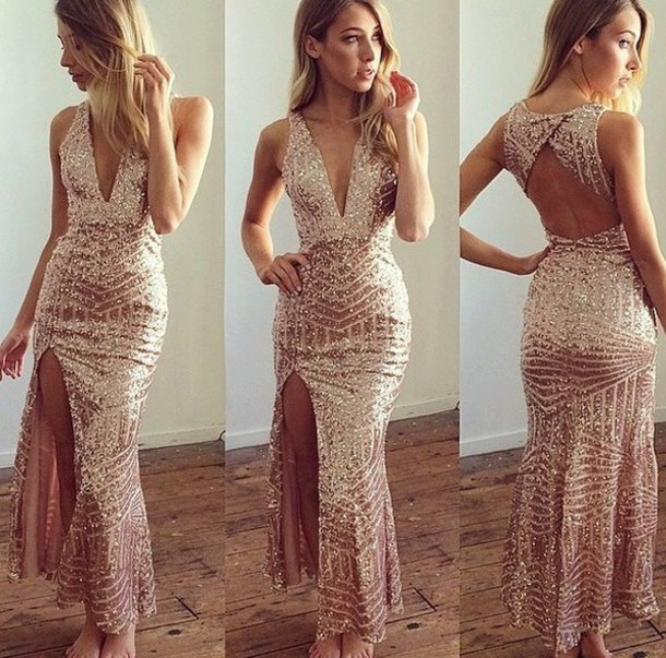 d46845ca4c dress maxi dress deep v sexy high slit dress gold sequins blush pink sequin dress  plunge