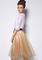 Bow sheer mesh flare champagne skirt