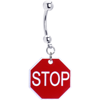 Red Stop Sign Belly Ring | Body Candy Body Jewelry