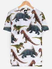 dinosaur shirt,t-shirt,dinosaur t shirt,white shirt,dinosaur,Dinosaur print