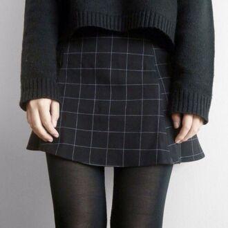 shirt grunge dark skirt outfit clothes tartan skirt tartan plaid