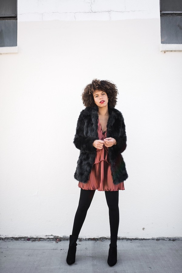 dress tumblr date outfit winter date night outfit date dress mini dress jacket black jacket fur coat coat tights opaque tights boots black boots