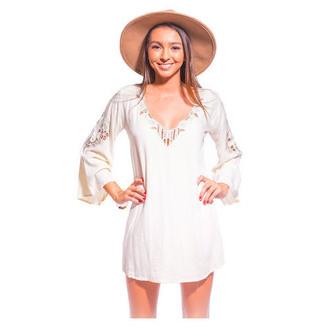 dress tiare hawaii cover up white dress cut-out cut-out dress white cutout dress embroidered v neck v neck dress see through