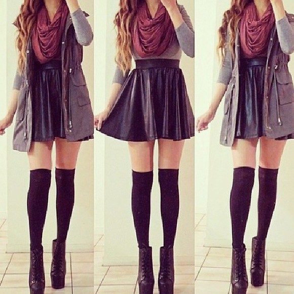 jacket grey shirt red scarf leather skater skirt combat jacket skirt scarf