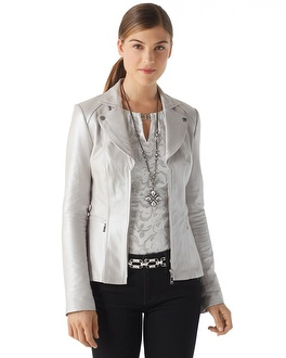 Pearlized Leather Jacket - White House | Black Market