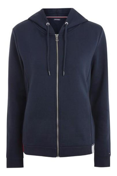 Topshop hoodie varsity navy blue sweater