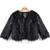 Black Long Sleeve Crop Faux Fur Coat - Sheinside.com