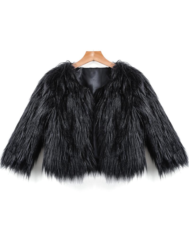 Black long sleeve crop faux fur coat