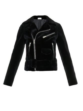 jacket biker jacket fur black