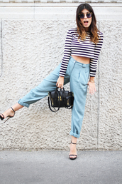 blouse,rayures,noir et blanc,white & black shirt,crop tops,pants,shirt
