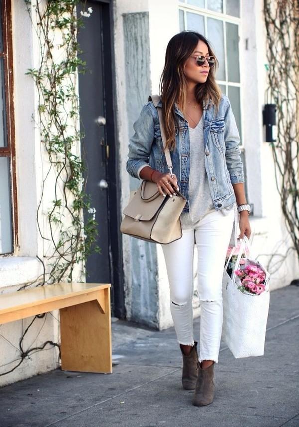 jeans jacket denim jacket bag shoes