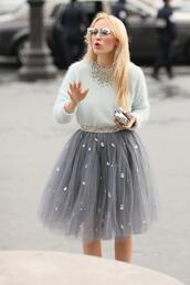 skirt,blue skirt,sweater,sunglasses,grey,tutu,tulle skirt,jewelled skirt,girly,feminine