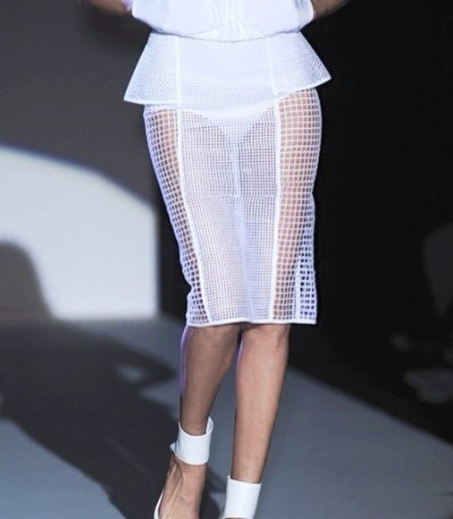 shirt white skirt mesh see through