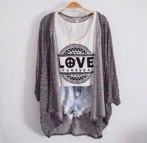 daisy cardigan denim shorts top blouse love t-shirt tank top grey cool girl style