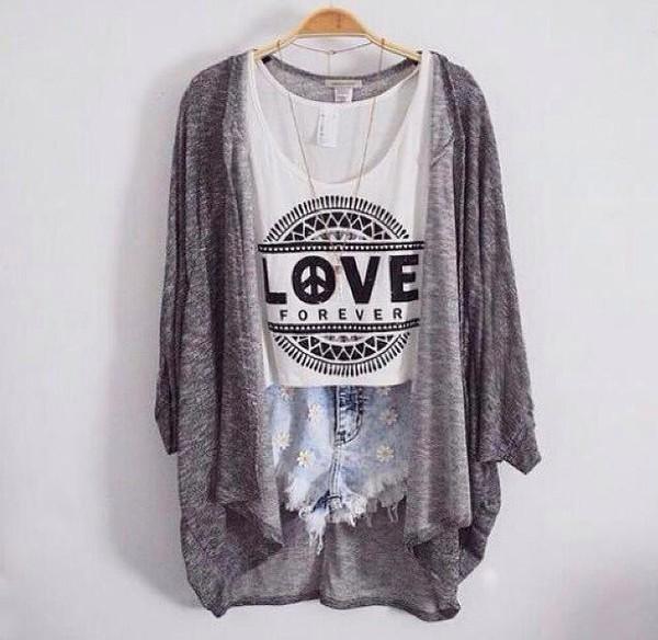 top denim shorts daisy cardigan love t-shirt tank top grey cool girl style blouse shorts
